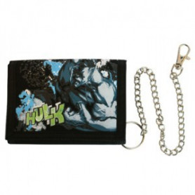 Hulk Black Nylon Woven Snap Chained Wallet