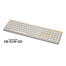 Lian-li km-01w-gd wireless chiclet keyboard + mouse - White+Gold