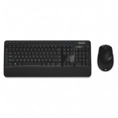 Microsoft Desktop 3050, Wireless, USB, Black and Silver, bundled with Mouse